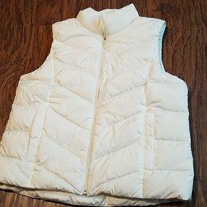 Lands' End white puffer down vest large petite